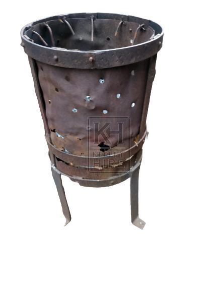 Oil drum brazier on legs