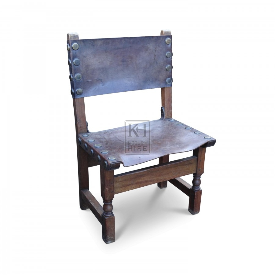 Period wood chair with leather seat