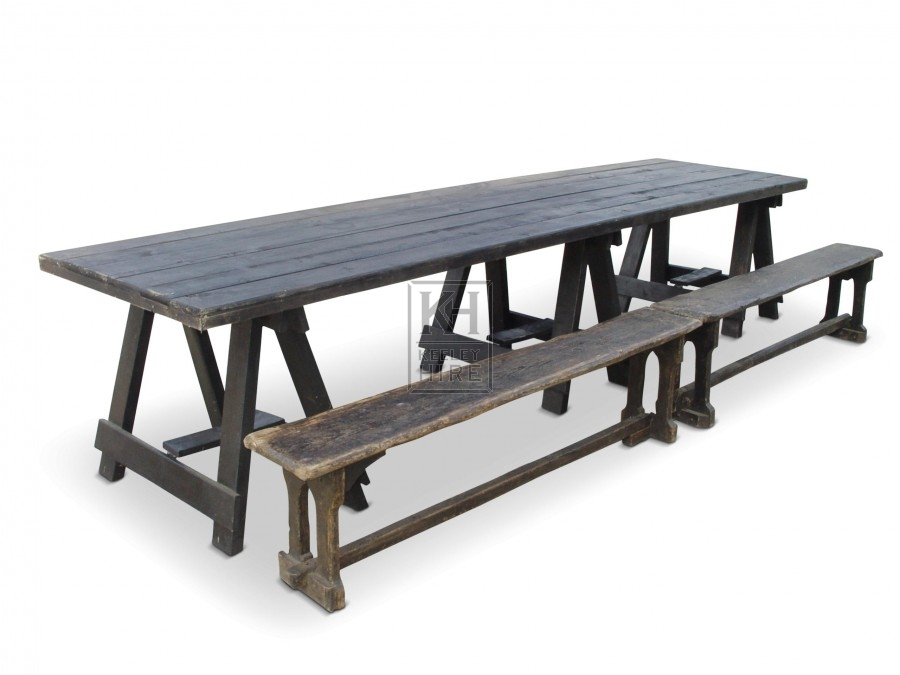 Tables Prop Hire » 12ft wood banquet table with 3 trestles - Keeley Hire