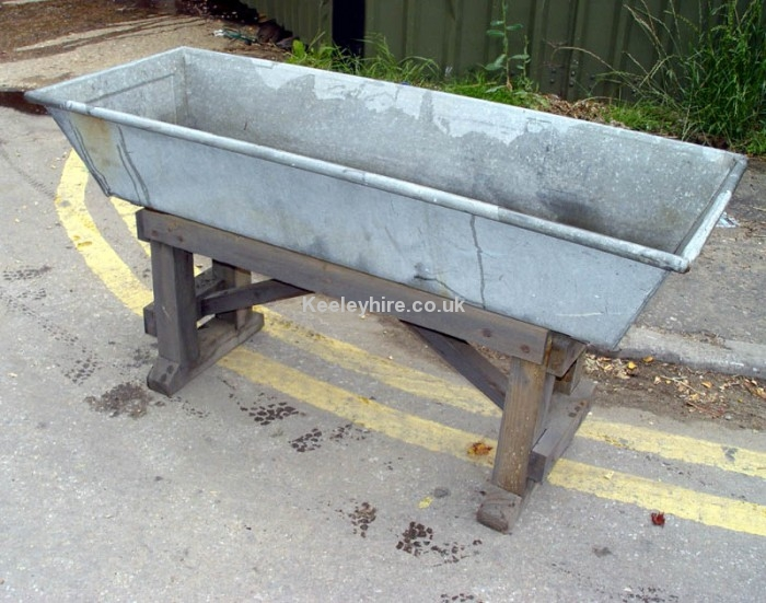 Galvanised trough on stand