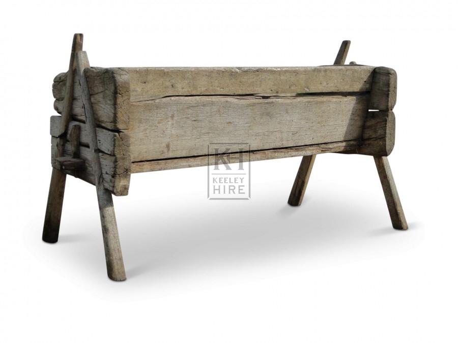 Early rustic wood feed trough #2