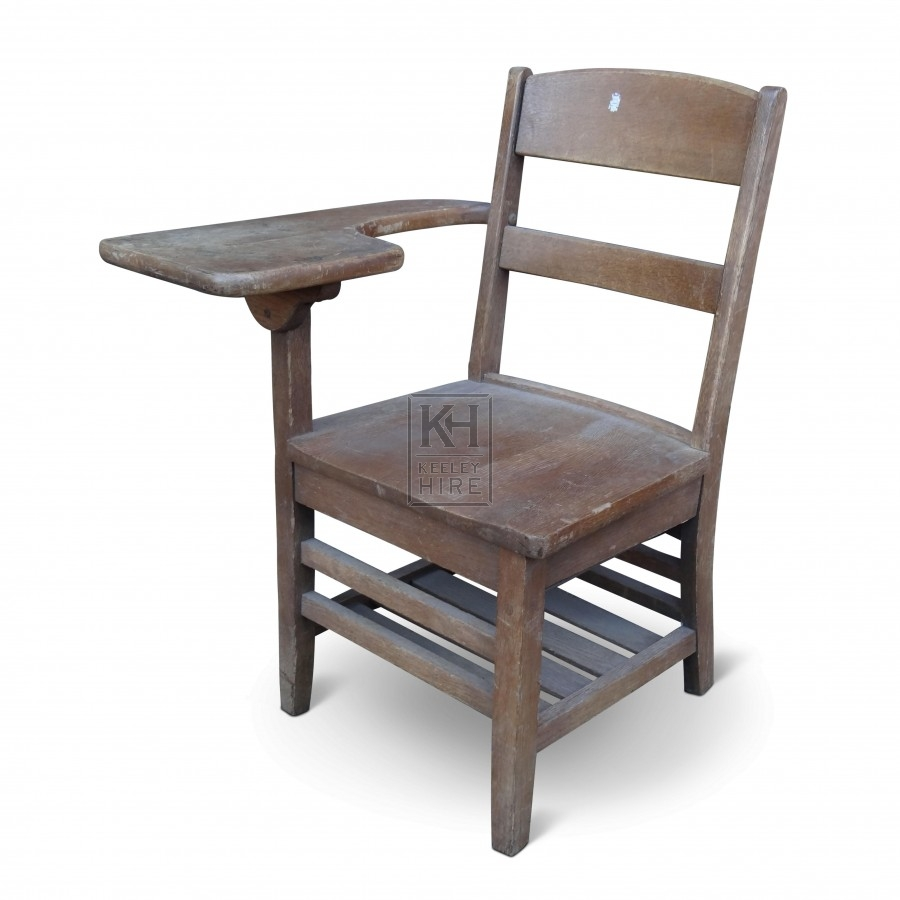 Wooden School Chair. Wooden Chair With Desk Arm School