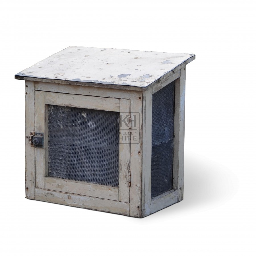 Wood sloping top meat safe