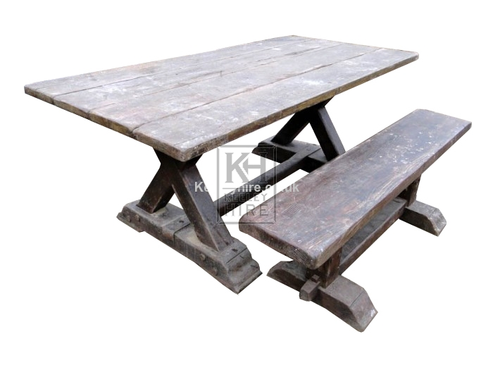6ft X-frame wood table & bench