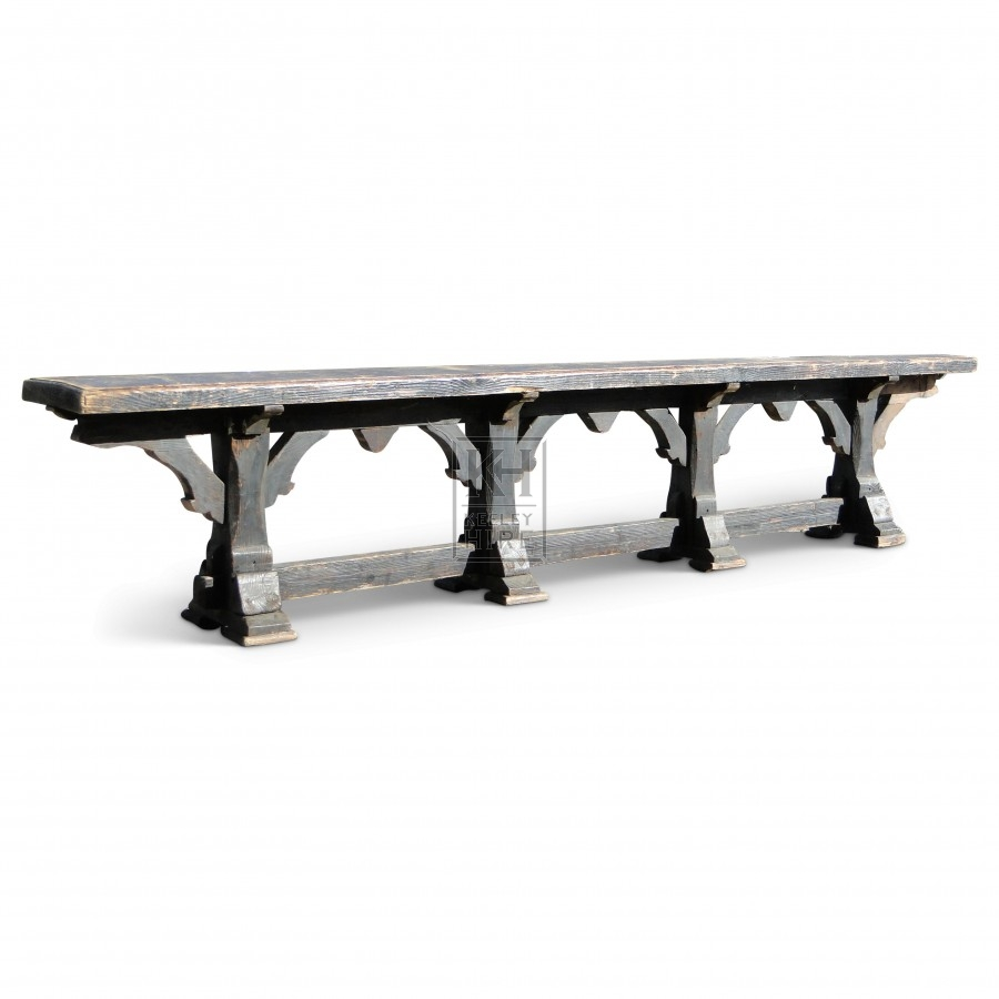 10ft Dark Wooden Bench