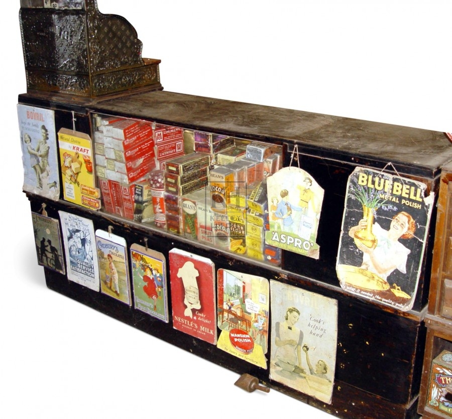 Period shop counter with glass display