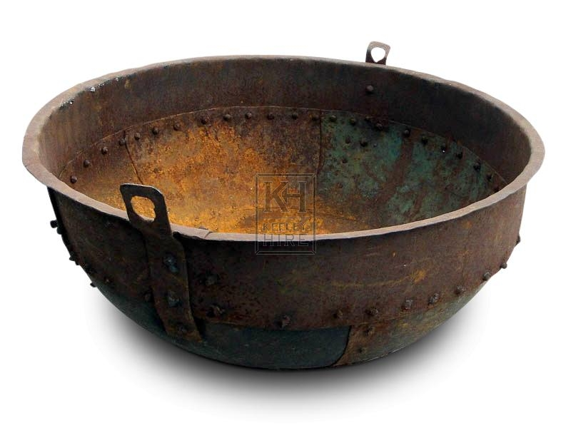 Large Shallow Rivetted iron cooking pot