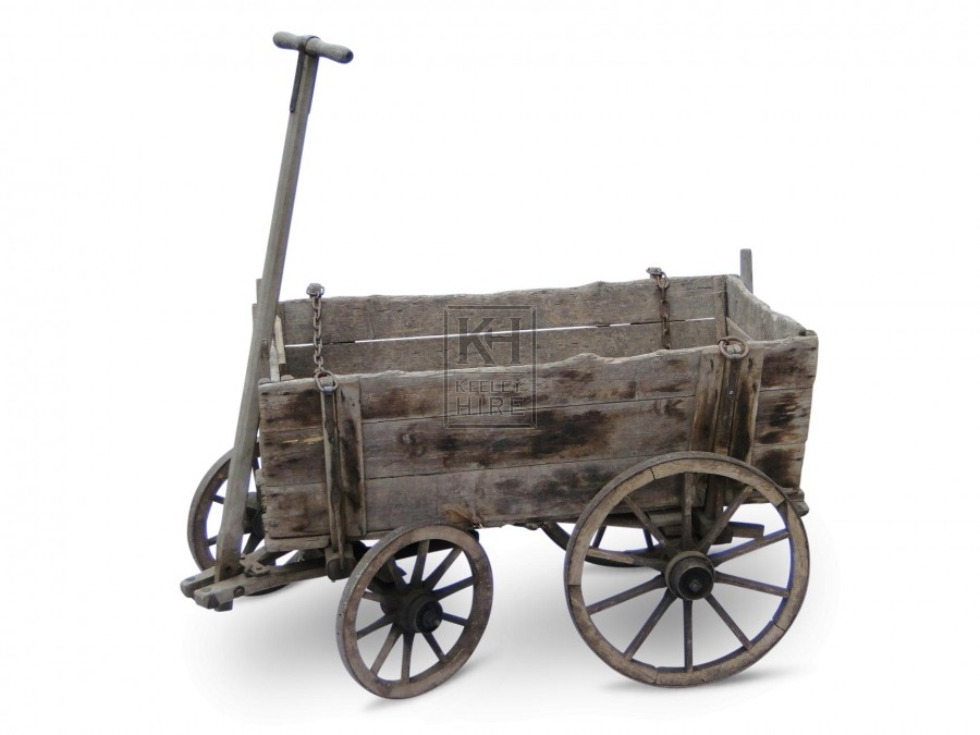 Small 4-wheel cart with solid sides