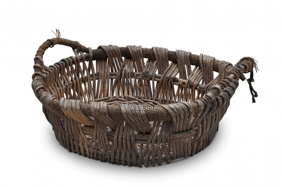 Two handled wide weave basket