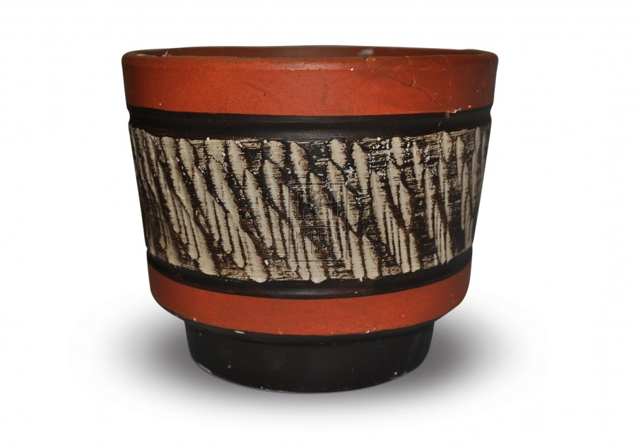Orange Striped Pot