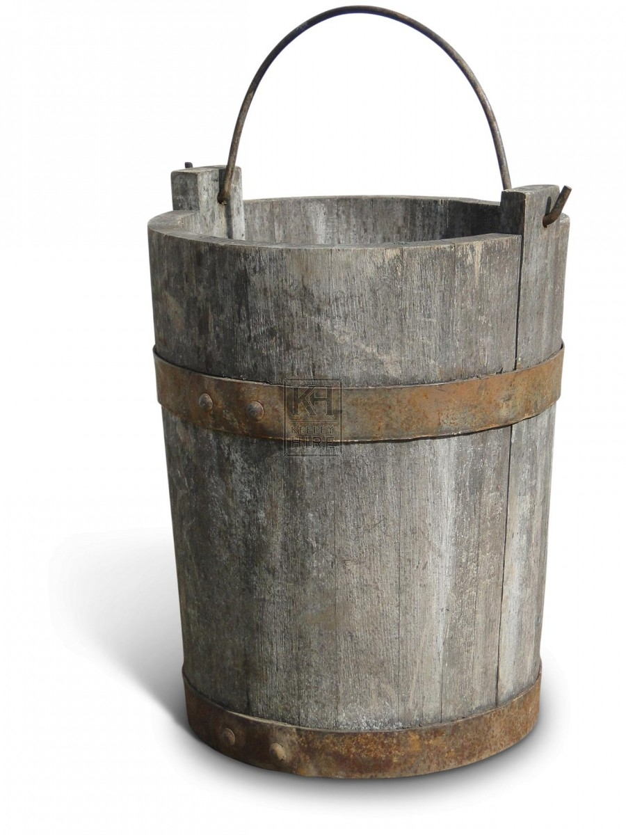 Tall Wooden Bucket with Riveted Banding