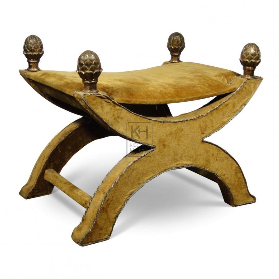 Gold Velvet X-Frame Chair