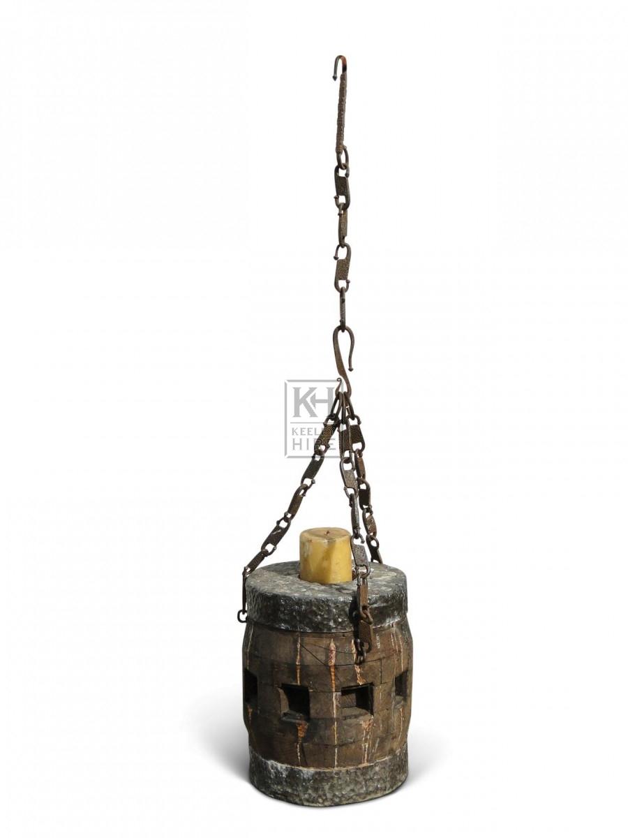 Hanging Wood Candleholder #4