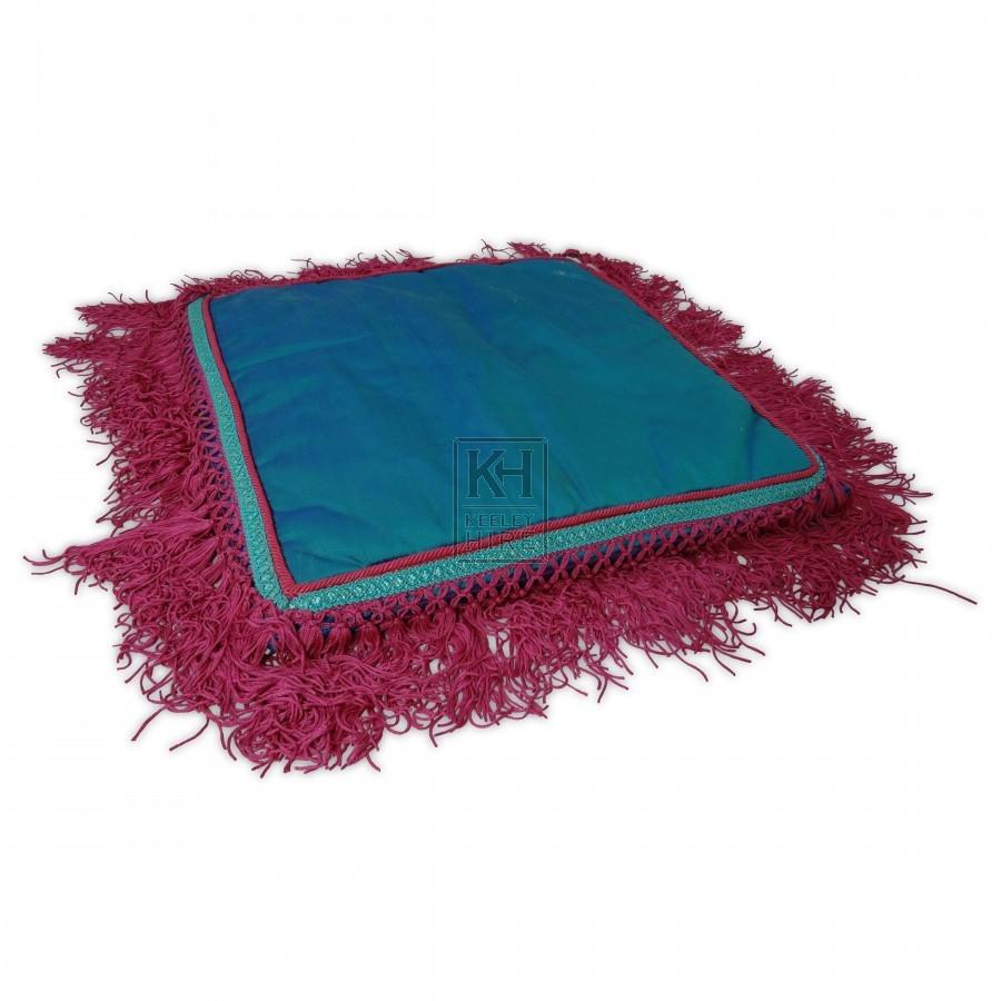 Blue Cushion Pink Trim