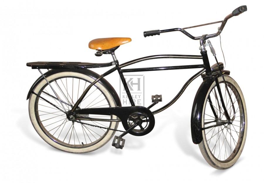 Black American Bicycle with pannier rack