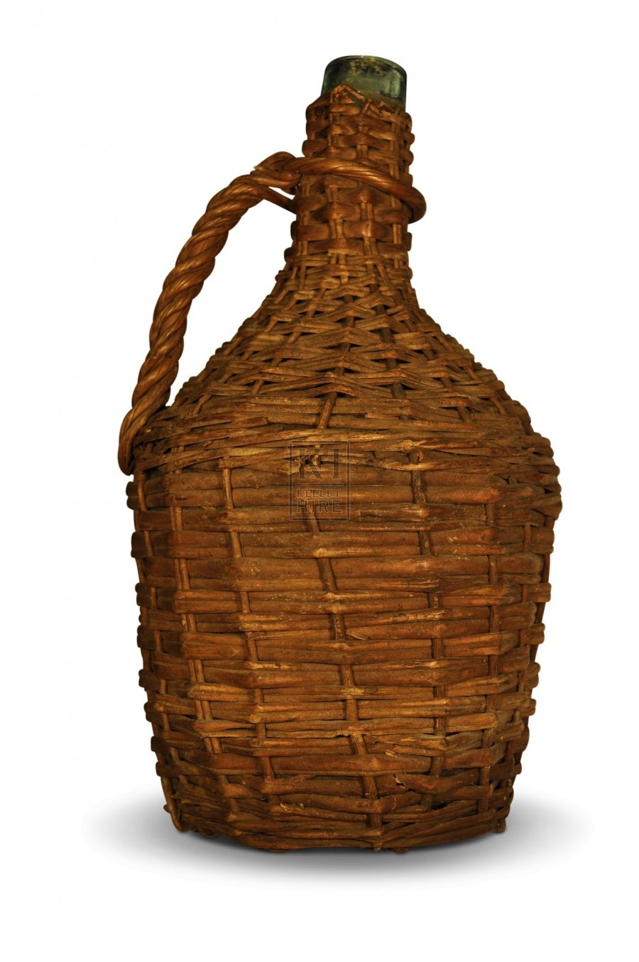 Wicker Wrapped Bottle with Handle #2