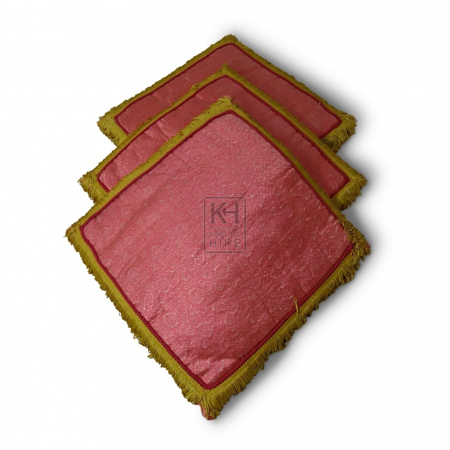 Pink Square Cushion with Gold Trim