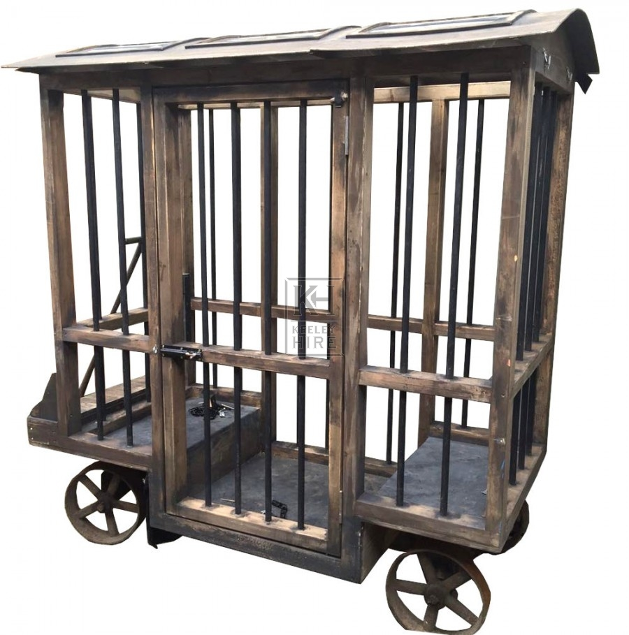 Iron Wheeled Jail Cart with T Handle