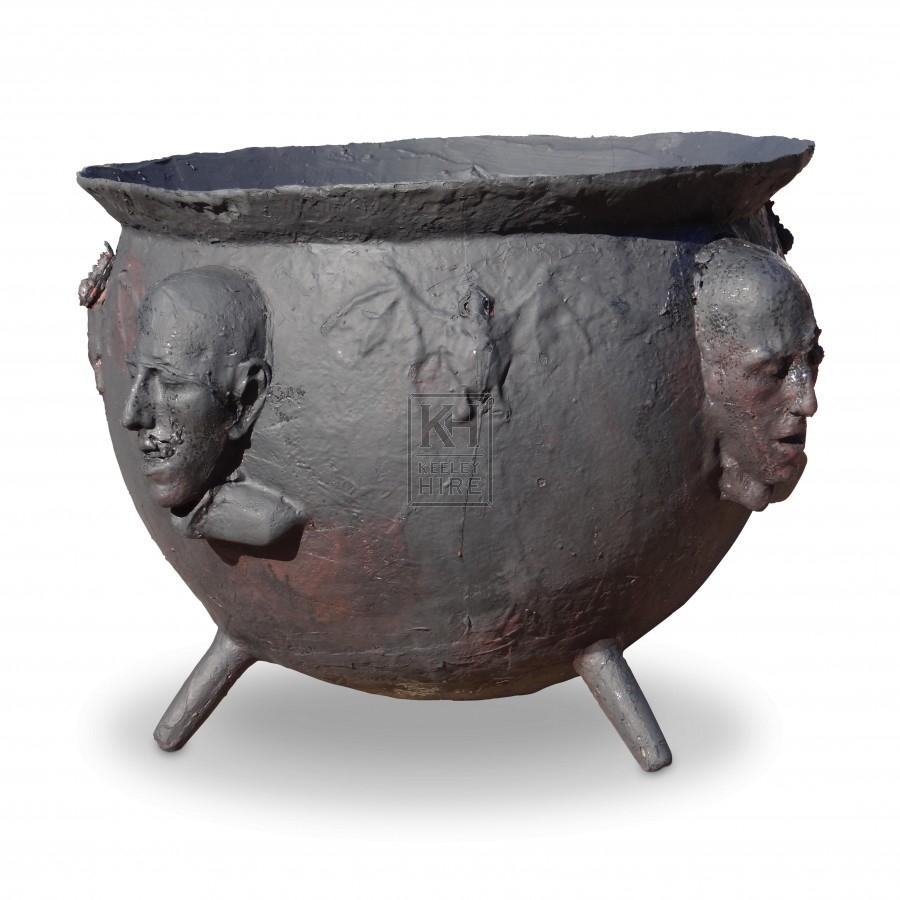 Fibreglass Cauldron with Faces