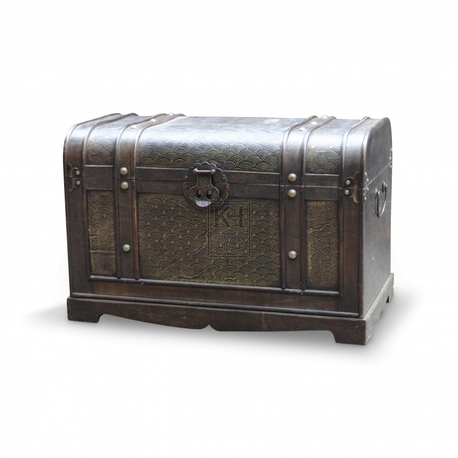 Studded Wooden Leatherbound Chest