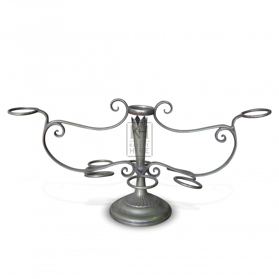 9 Ring Silver Table Candelabra