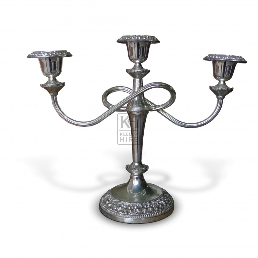 3 Point Silver Table Candelabra