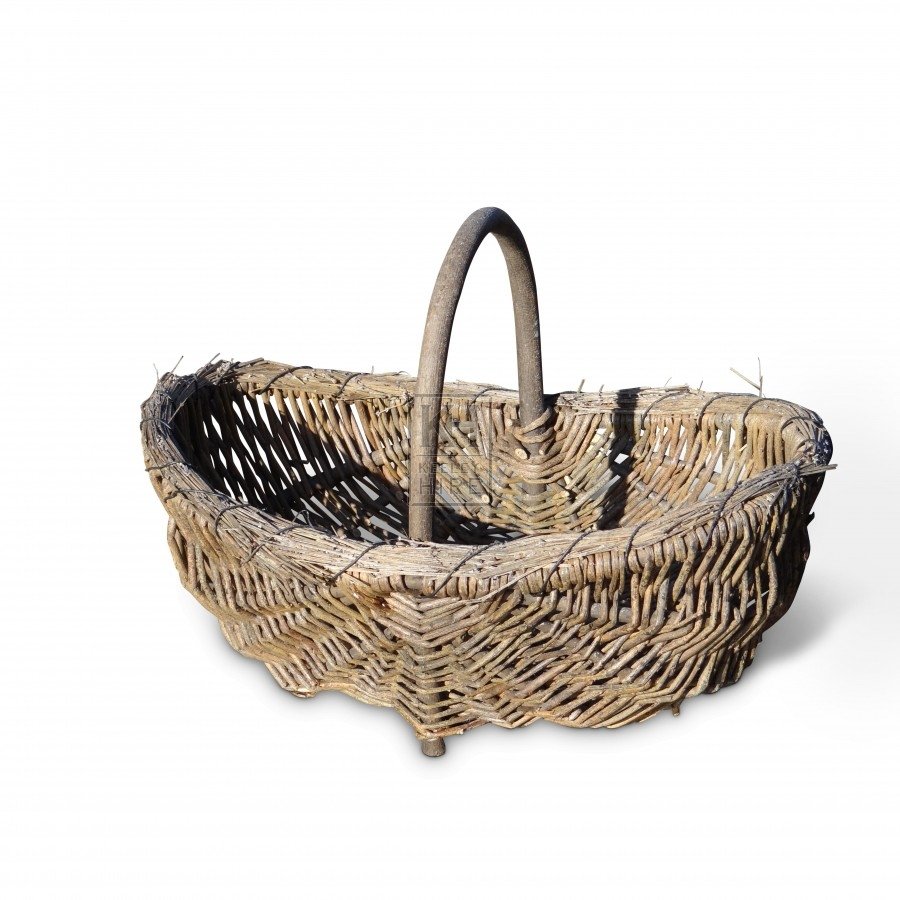 Wooden Handled Hand Basket