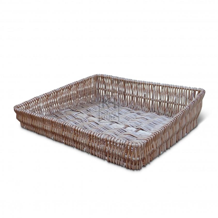 Assorted Sloped Wicker Tray Baskets