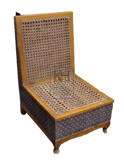 Oriental Wicker Box Seat Chair