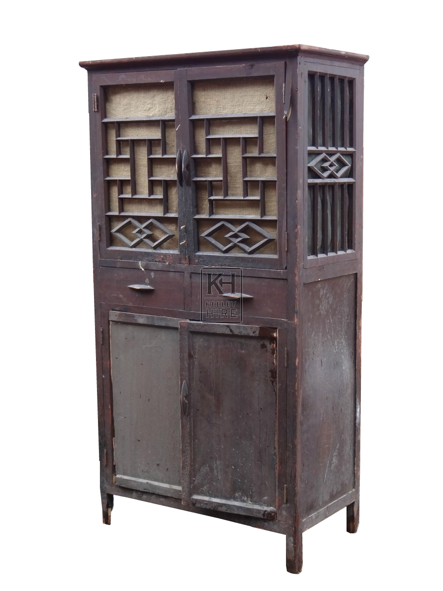 Furniture prop hire dark oriental detailed cupboard for Oriental cupboard