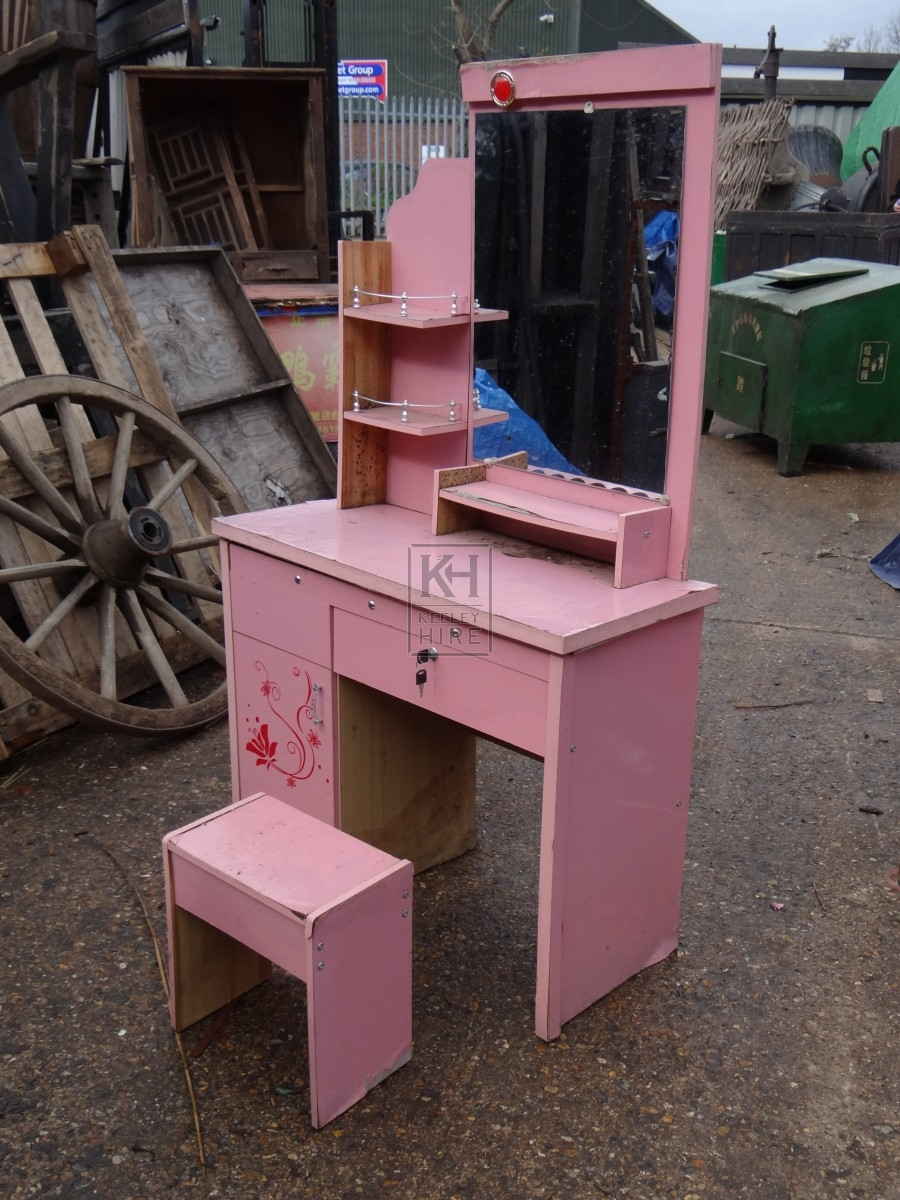 Furniture prop hire small pink dressing table keeley