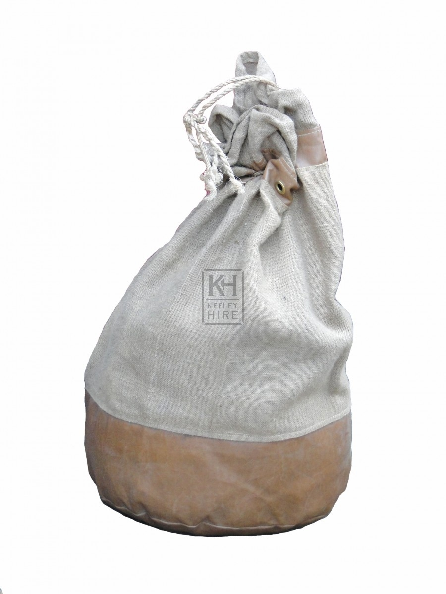 Leather Reinforced Hessian Sack