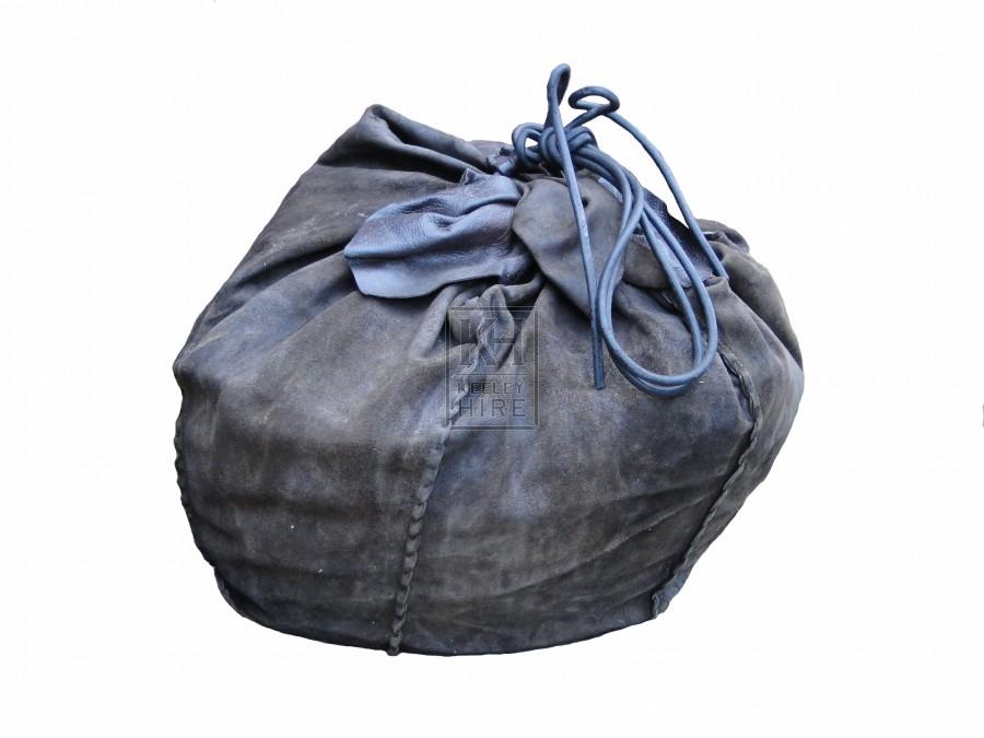 Stitched Leather Drawstring Sack