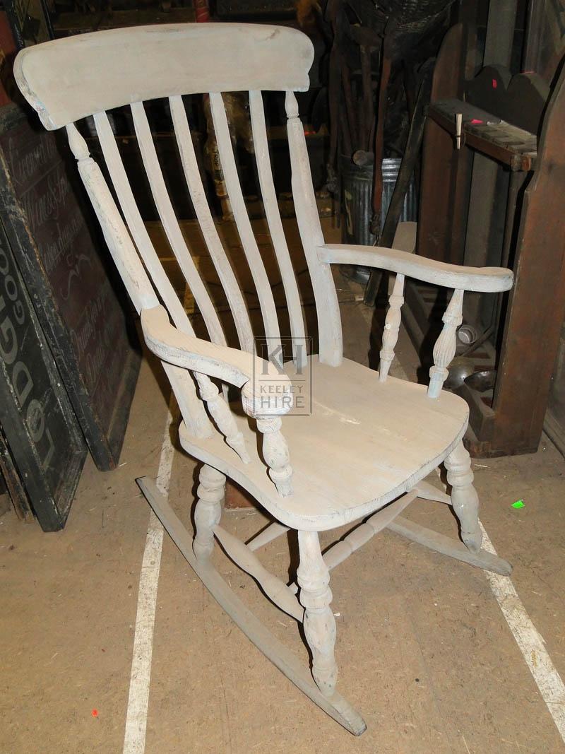 Grey wood rocking chair