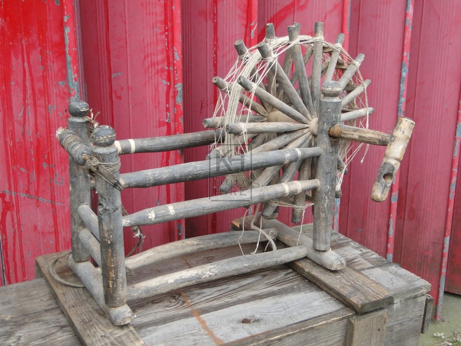 Small Early Wooden Spinning Wheel