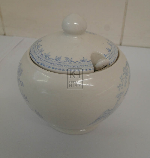 Blue china sugar bowl