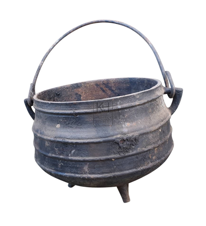 Small cast iron ribbed cauldron