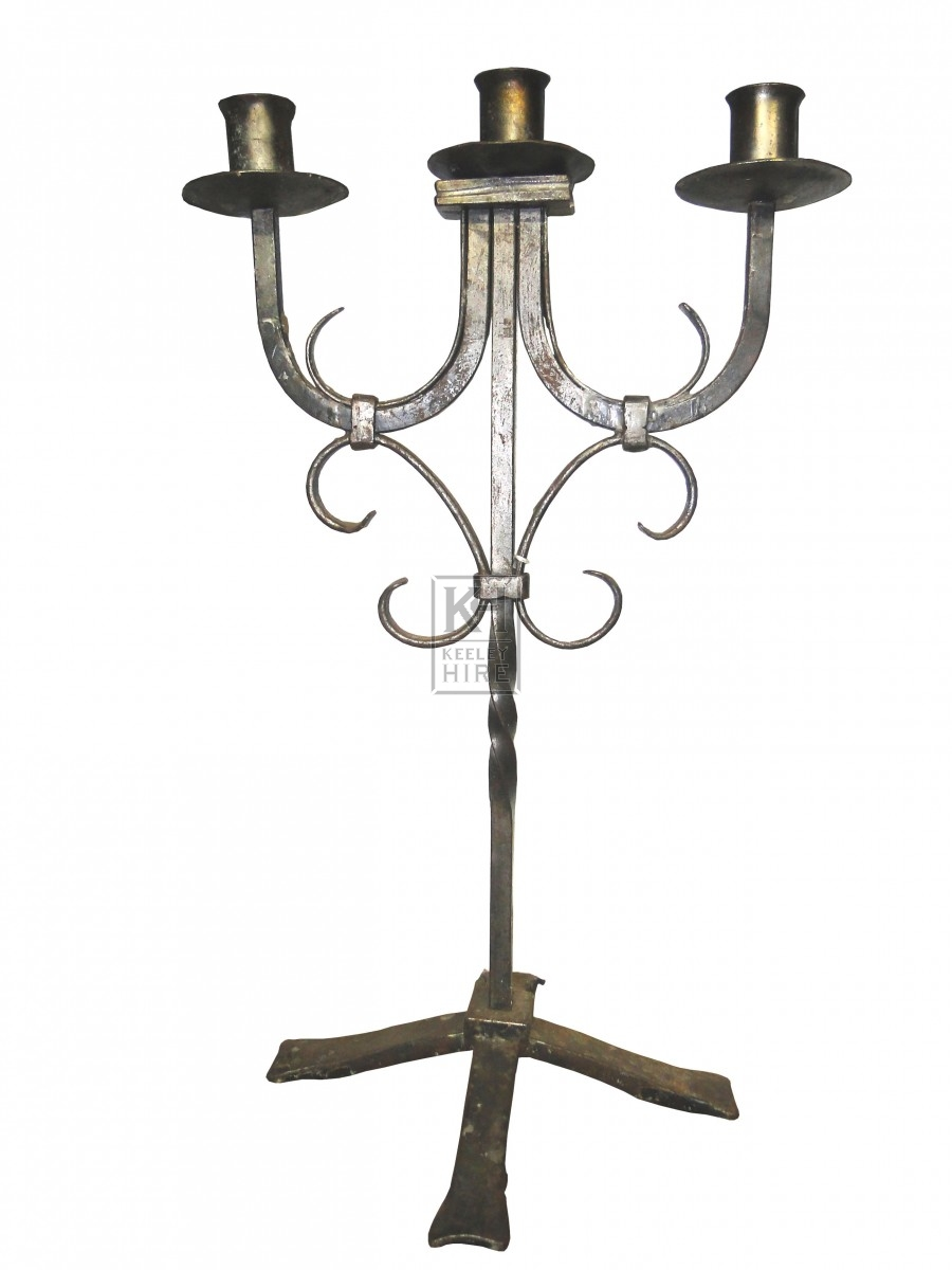 3 Point Iron Candlestick with Curls