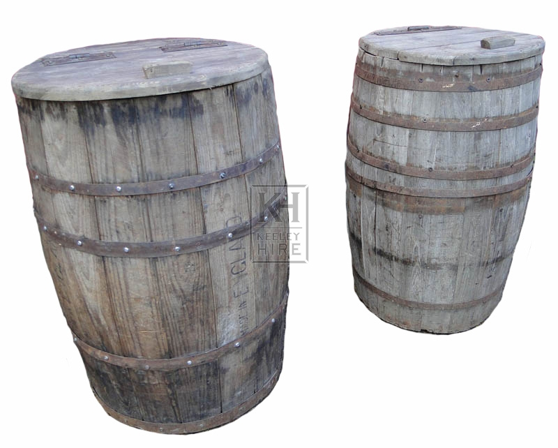 Wood storage barrels with lids