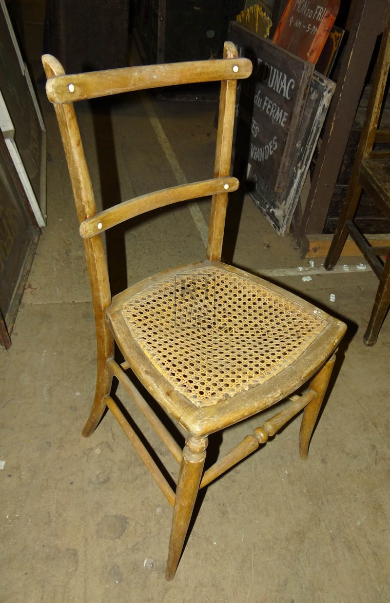 Woven seated simple wood chair
