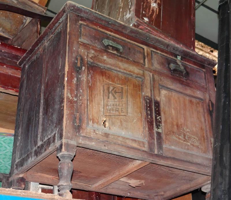 Very worn 2-door cupboard