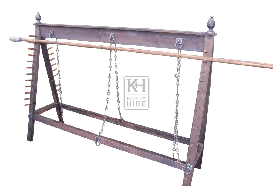 Dark wood weapons rack