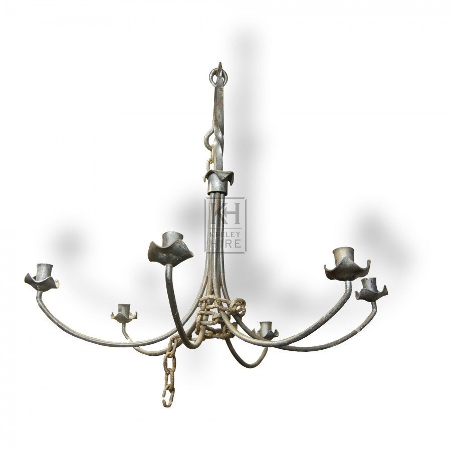 Large 6 Point Iron Chandelier