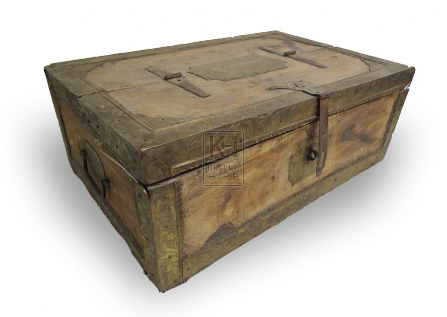 Flat top wood chest with brass