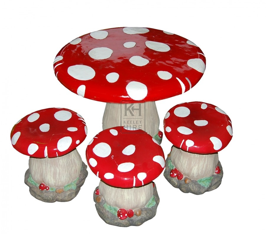 Miscellaneous Prop Hire » Toadstool Table and Chairs Set - Keeley Hire