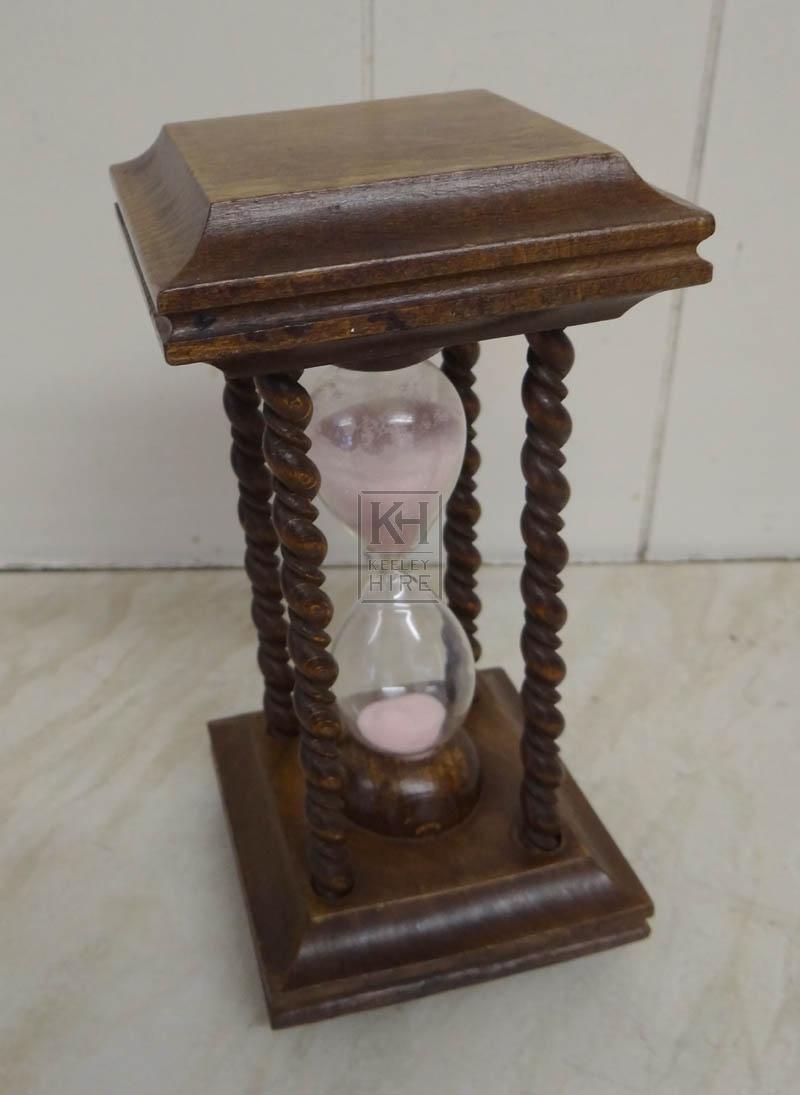 Polished wood hour glass