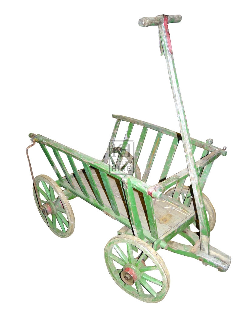 Aged green painted dog cart