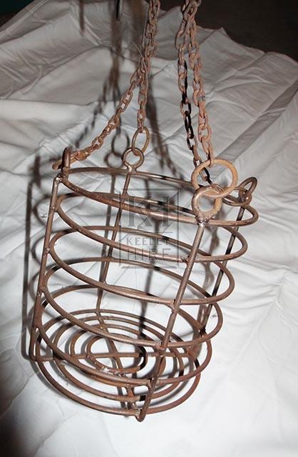 Round iron cage on chain