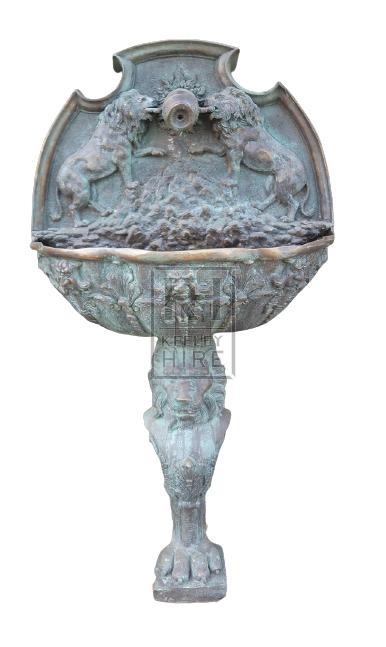 Bronze freestanding wall fountain