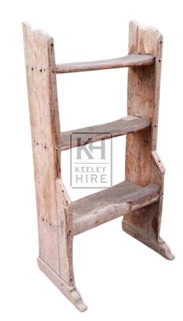 Freestanding rough wood dairy shelf